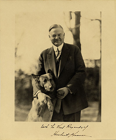 Herbert Hoover and his dog 'King Tut'