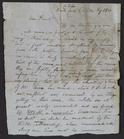 Henry Mosler letter to his parents, Gustave and Sophie Mosler