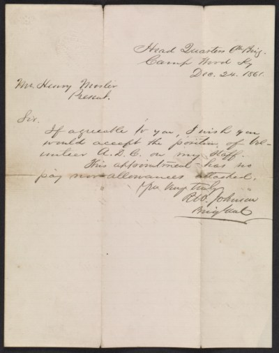 Richard W. Johnson letter to Henry Mosler