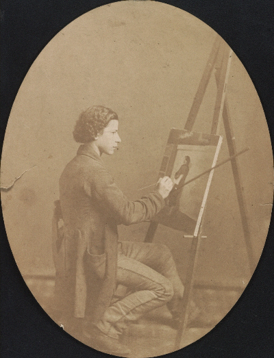 [Henry Mosler working on a painting]