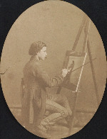 Henry Mosler working on a painting