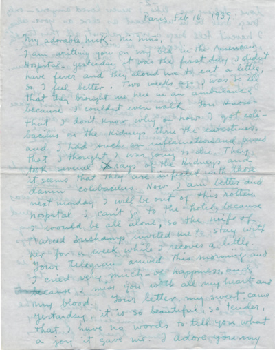 Frida Kahlo, Paris, France letter to Nickolas Muray, New York, N.Y.