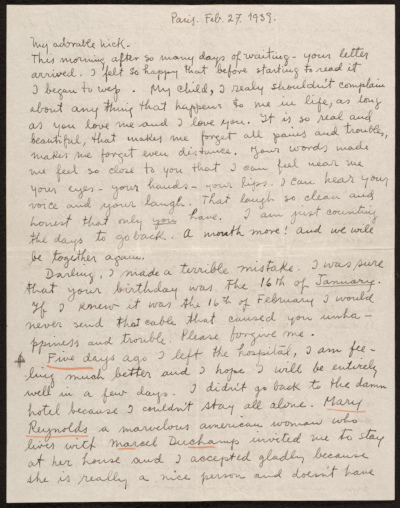 [Frida Kahlo, Paris, France letter to Nickolas Muray, New York, N.Y.]