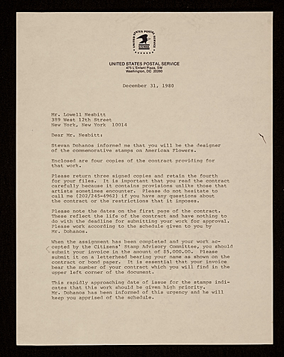 [Dennis J. Holm, Washington, D.C. letter to Lowell Nesbitt, New York, N.Y.]