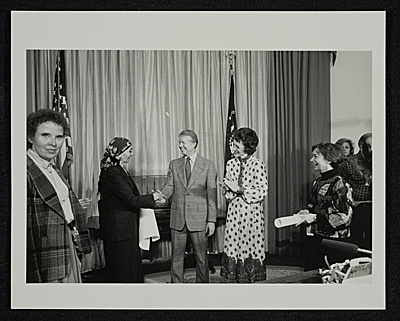 Louise Nevelson receiving an award from President Jimmy Carter and Joan Mondale