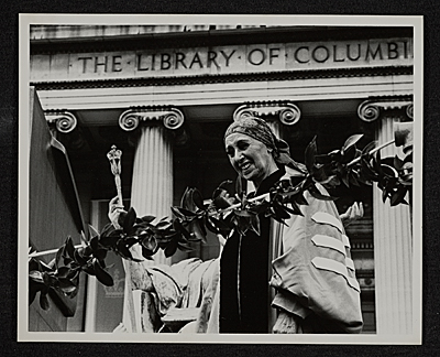Louise Nevelson receiving an honorary degree from Columbia University