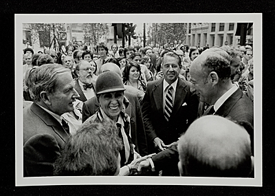 Louise Nevelson, Mayor Ed Koch and David Rockefeller at Chase Manhattan Plaza opening