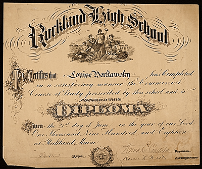 Louise Nevelsons high school diploma