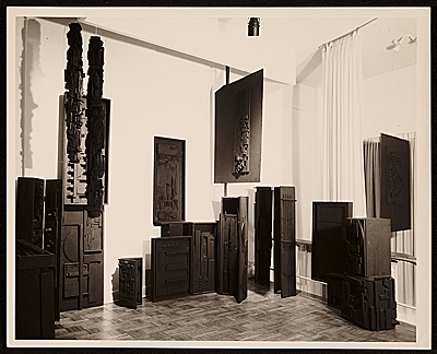 Martha Jackson Gallery installation of Louise Nevelsons Sky Columns Presence