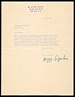 Peggy Guggenheim, New York, N.Y. letter to Louise Nevelson, New York, N.Y.