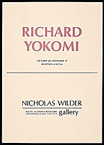 Announcement for a Richard Yokomi exhibition at Nicholas Wilder Gallery