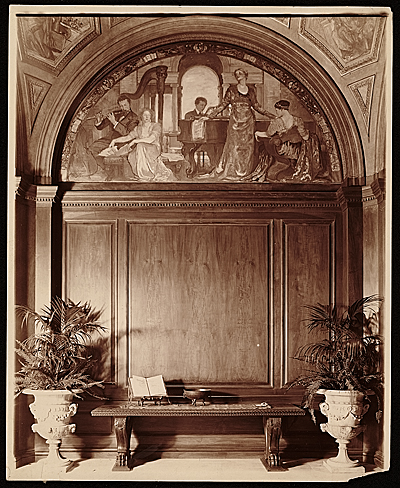 [Violet Oakley mural Youth and the Arts in the hall of Charlton Yarnall's Philadelphia home]