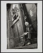 Ivan C. Karp on the steps of the OK Harris Works of Art gallery