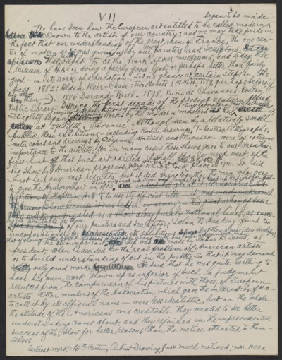 Walter Pach notes for lecture on the Armory Show