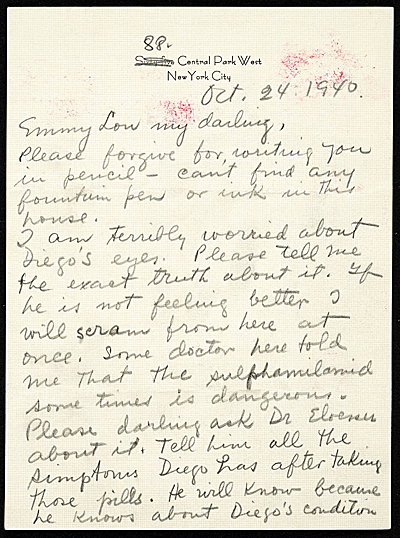 [Frida Kahlo, New York, N.Y. letter to Emmy Lou Packard, San Francisco, Calif.]