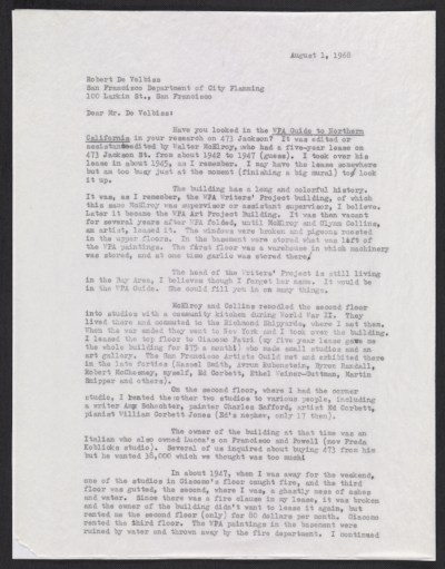 [Emmy Lou Packard letter to Robert De Velbiss, San Francisco, CA]