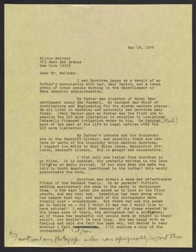 [Emmy Lou Packard draft letter to Milton Meltzer, New York, NY]