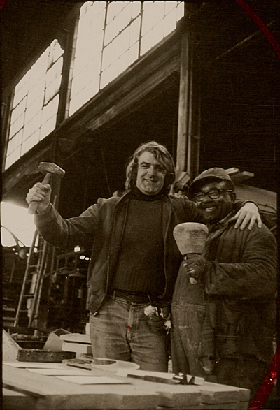 Ulrich Ruckriem with a worker