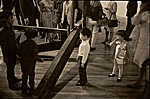 Children at a gallery in front of an installation