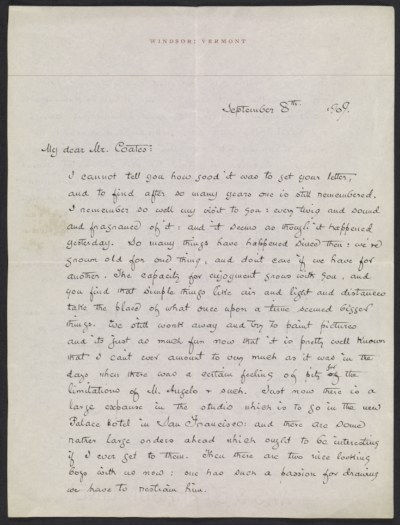 Maxfield Parrish, Windsor, Vt. letter to Mr. Coates