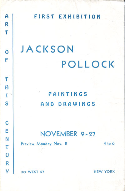 Jackson Pollock paintings and drawings, 1943 Nov. 9-27