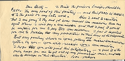 Jackson Pollock letter to Betty Parsons