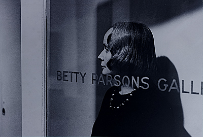 Betty Parsons standing in the doorway of her gallery