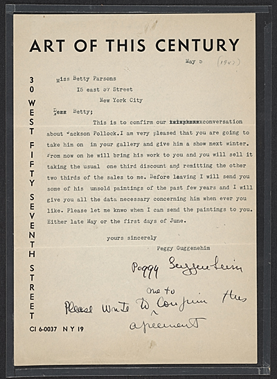 [Peggy Guggenheim, New York, N.Y. letter to Betty Parsons, New York, N.Y.]