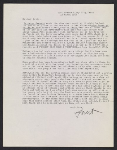 [Forrest Bess letter to Betty Parsons]