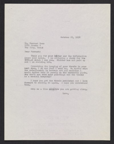 [Betty Parsons letter to Forrest Bess]
