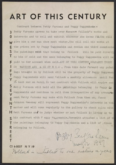 Contract between Betty Parsons and Peggy Guggenheim regarding representation of Jackson Pollock