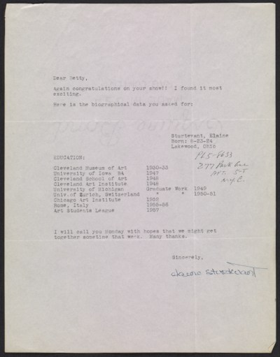 [Elaine Sturtevant letter to Betty Parsons]