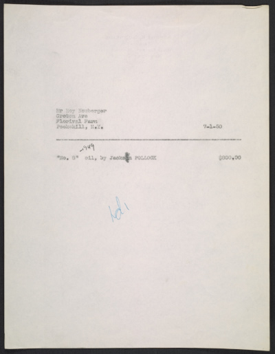 Sales invoice for No. 8 painting by Jackson Pollock