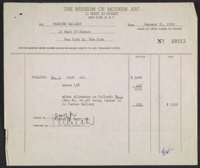 [Sales invoice for No. 1 painting by Jackson Pollock]