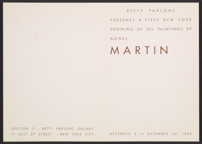 [Betty Parsons presents a first New York showing of oil paintings by Agnes Martin]