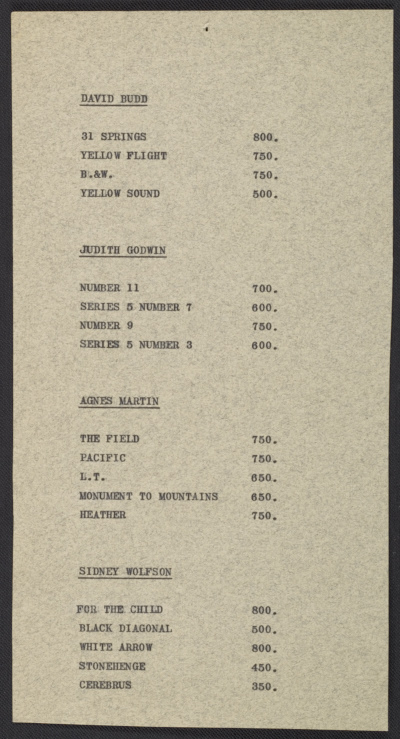 [A price list for the works in the Section Eleven show at the Betty Parsons Gallery]