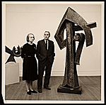Betty Parsons standing with Seymour Lipton and his work