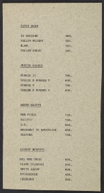 [A price list for the works in the Section Eleven show at the Betty Parsons Gallery ]