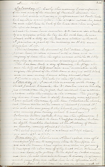 Diary entry, which recounts the news of President Abraham Lincolns assassination and funeral procession