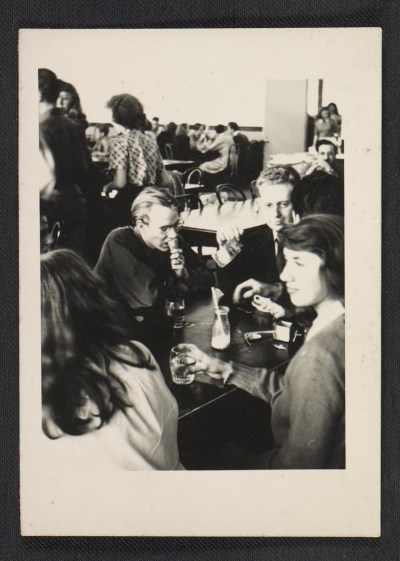 Andy Warhol and Philip Pearlstein in the cafeteria at the Carnegie Institute of Technology.