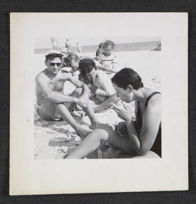 Dorothy Cantor with her cousins Bill and Gloria Hankin on Fire Island Beach