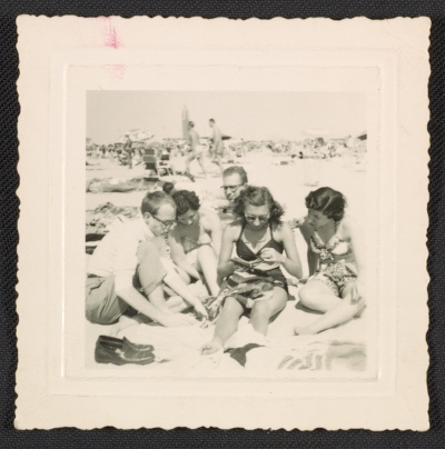 Andy Warhol, Dorothy Cantor, Philip Pearlstein and Leah Cantor at Fire Island Beach