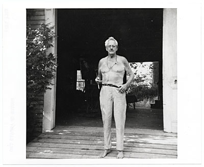 [Waldo Peirce at the doorway to his studio]