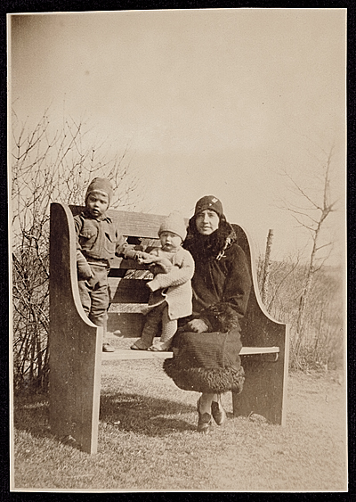 [Dr. Louise B. Smith with her sons, Calvin Miller Smith and Leland Rose Smith]
