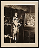 Agnes Pelton at work in her studio
