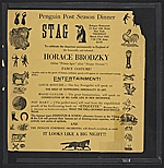 Flyer for a stag party given by the Penguin Club honoring Horace Brodzky
