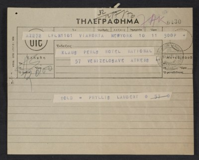 Telegram from Phyllis Lambert to Klaus Perls confirming the purchase of Picassos Le tricorne