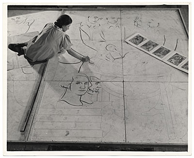 [Woman working on a floor mosaic]