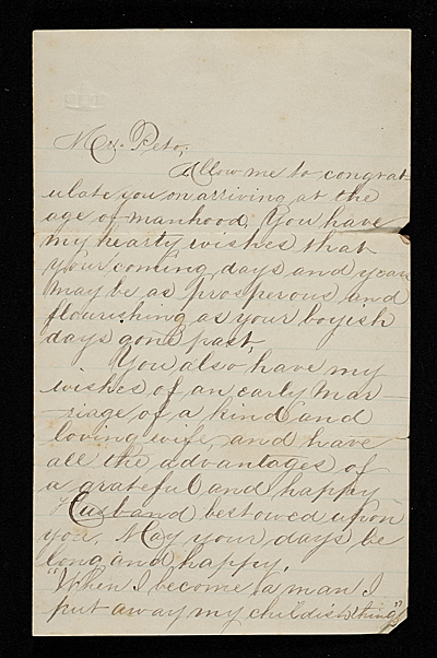Letter to John Frederick Peto (presumably from his father) congratulating him on arriving at the age of manhood