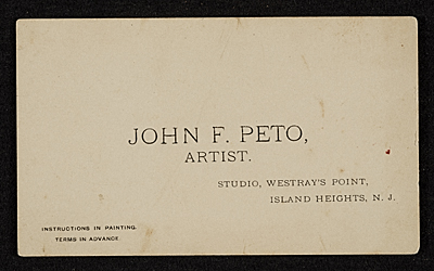 John F. Peto Business card, Studio, Westrays Point, Island Heights, N.J.